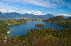 Castle and the Church of the Assumption in the island of the Lake of Bled Royalty Free Stock Photography