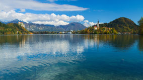 Castle and the Church of the Assumption in the island of the Lake of Bled Royalty Free Stock Image