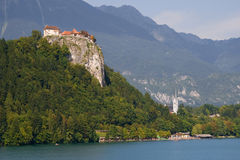Castle and church of Bled Royalty Free Stock Image