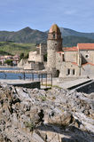 Castle and church of Collioure in France Royalty Free Stock Photography