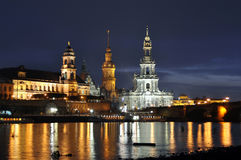 Castle and church on the Elbe in Dresden Germany Royalty Free Stock Image