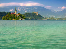 Lake Bled,Slovenia,Europe. Castle,church on the island and the lake of Bled Royalty Free Stock Photo