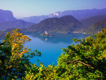Lake Bled,Slovenia,Europe. Castle,church on the island and the lake of Bled Stock Photo