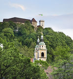 Castle and church in Ljubljana. Slovenija Stock Image