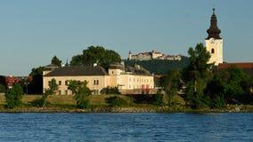 Mautern an der Donau, Wachau, Austria. Castle and church in Mautern town & Gottweig abbey at Danube river in Wachau valley - Austria stock image