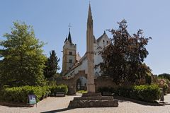 Castle church with medieval city wall in ober ingelheim city rheinhessen rhineland palatinate germany.  royalty free stock photo