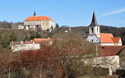 Castle and church, Namest nad Oslavou, Czech Republic, Europe Royalty Free Stock Image