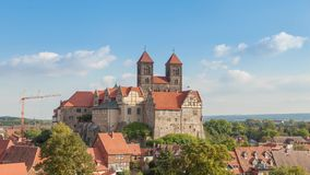 Castle and church in Quedlinburg stock video footage