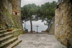 Castle and church in riomaggiore Royalty Free Stock Image