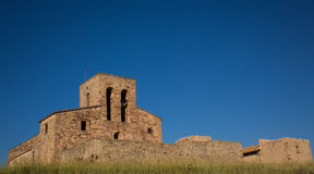 The castle and church on top of the Tagamanent Royalty Free Stock Image