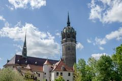 The castle church in Wittenberg. Castle church in the Luther city Wittenberg stock photos