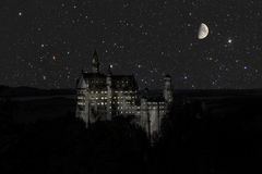 Castle Cinderella. At night with moon royalty free stock photo