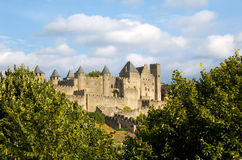Castle of the Cite. Vista del Castillo de la Cite de Carcassonne desde el Puente Viejo Royalty Free Stock Images