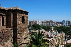 Castle and city view, Malaga, Spain. Royalty Free Stock Photography
