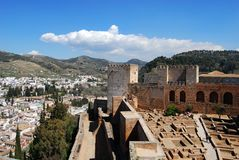 Castle and city view, Palace of Alhambra, Granada. Royalty Free Stock Photos