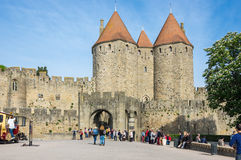 Castle and city walls of Carcassonne Stock Images