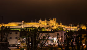 Castle and city walls of Carcassonne at night Stock Photos