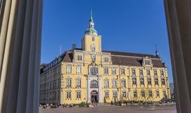 Castle between classical roman pillars in Oldenburg Royalty Free Stock Photo