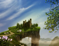 Castle on a cliff. 3D rendering Royalty Free Stock Photos
