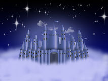Castle in the clouds. Fantastic castle on the clouds in the sky Royalty Free Stock Images