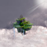 Castle in the Clouds. A fantasy realm of a castle with terraces floating in the clouds in a fairytale kingdom vector illustration