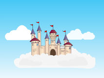 Castle in the clouds in the sky stock photography