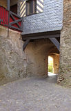 Castle Cobblestone Passageway. Castle Schoenburg cobblestone passageway in the town of Oberwesel Germany in the Rhine Valley Royalty Free Stock Photo