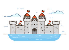 Castle color line icon. Linear style castle color vector illustration. Medieval castle with towers and walls with flags, surrounded by water. Guard and Royalty Free Stock Photography
