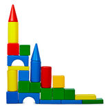 Castle from color plastic bricks isolated on white Royalty Free Stock Images