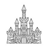Castle coloring book for adults vector Royalty Free Stock Image