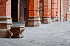 Castle columns architecture detail Bologna Italy Royalty Free Stock Images