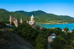 Castle complex with church on Aragvi river, Ananuri, Georgia.  Royalty Free Stock Photos