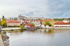 View of Prague Castle, Czech Republic, on the shore of Vltava royalty free stock photography