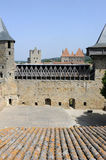 The castle of Comtal on the citadel of Carcassonne Stock Photos