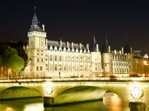 Castle Conciergerie and bridge of Change. France - Paris- Castle Conciergerie and bridge of Change stock images