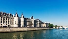Castle Conciergerie and bridge, Paris Royalty Free Stock Images
