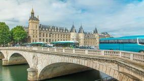 Castle Conciergerie timelapse - former royal palace and prison. Paris, France. Castle Conciergerie timelapse - former royal palace and prison. Bridge to Change stock video footage