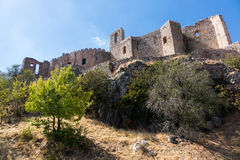 Castle and Convent of Calatrava la Nueva in Spain. The hilltop castle fortress and old convent of Calatrava La Nueva near Ciudad Real, Castilla La Mancha, Spain Royalty Free Stock Photo