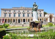 Castle in Corfu, Greece. Castle with a fountain in Corfu, Greece Royalty Free Stock Photo