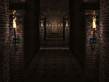 Castle corridor. Dark medieval castle corridor with columns and torches Royalty Free Stock Photography