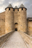 Castle of the Counts. Carcassonne. France. Castle of the Counts or Château Comtal. Entrance and bridge . Carcassonne. France Stock Images
