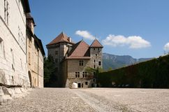 Castle courtyard, Annecy, Savoy, France. The castle was built for counts of Geneva. Now works as museum stock photos