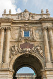 Castle courtyard gate in Budapest royal palace. Royalty Free Stock Photo