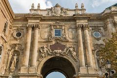 Castle courtyard gate in Budapest royal palace. Royalty Free Stock Image