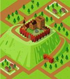 Castle on a coutryside hill. Castle on a countryside hill. Detailed isometric series Stock Images