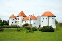 Castle in croatia 1. White castle with red roof Royalty Free Stock Photos