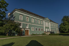 Castle Dacice with green park in spring morning Stock Photo