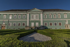 Castle Dacice with green park in spring morning Royalty Free Stock Image