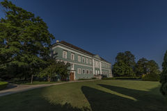 Castle Dacice with green park in spring morning Stock Photography