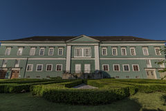 Castle Dacice with green park in spring morning Royalty Free Stock Photography